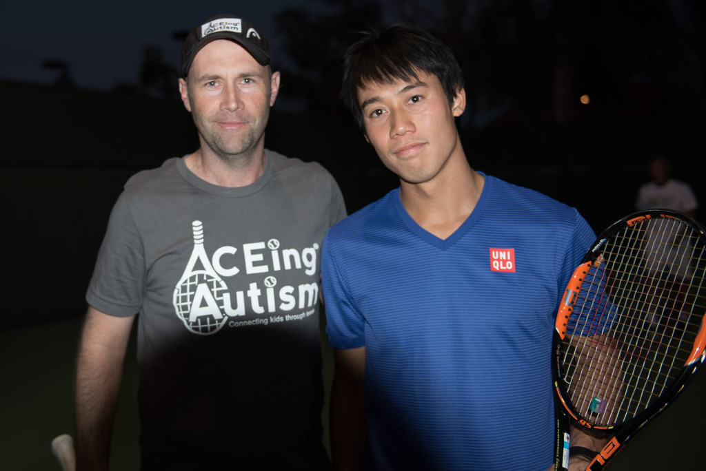 Kei Nishikori and Richard Spurlingt at Tennis With The Stars by Alex Huggan. Hosted at Omni Rancho Las Palmas Resort & Spa. Managed by Cliff Drysdale.