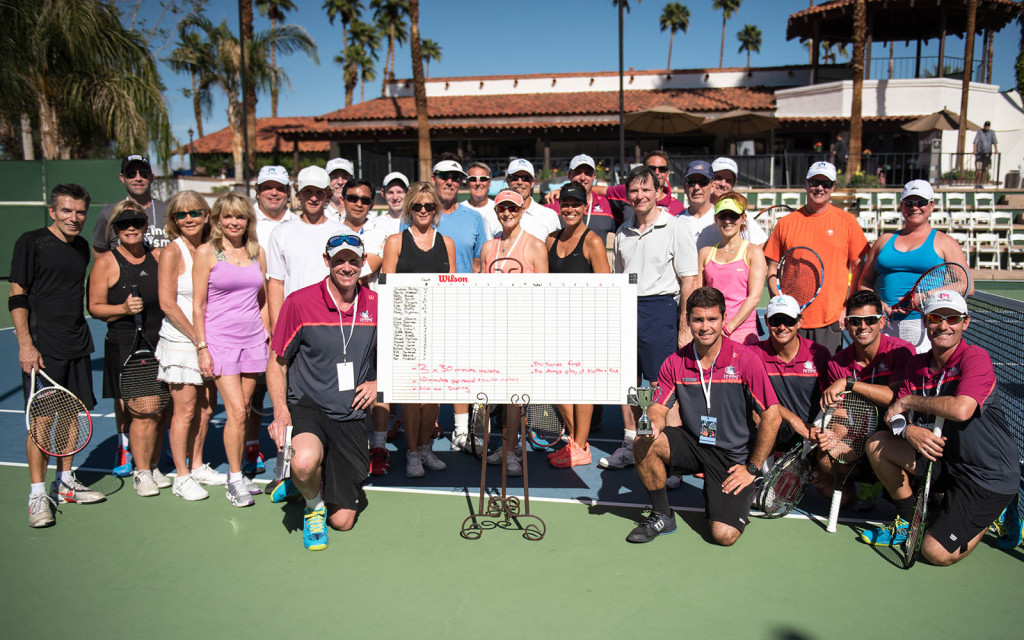 The athletes, coaches and players at Tennis With The Stars by Alex Huggan. Hosted at Omni Rancho Las Palmas Resort & Spa. Managed by Cliff Drysdale.