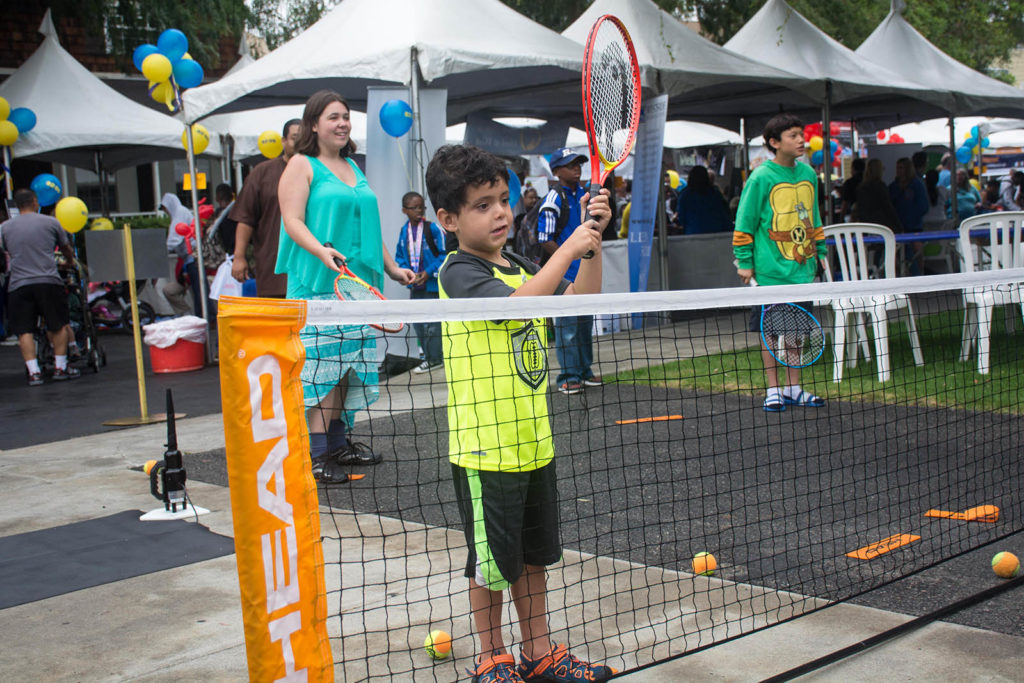 ACEing Autism attend Stephanie's Day at CBS News Studios, the most popular autism fair in Los Angeles. Displaying their tennis on the lots for the children & families.