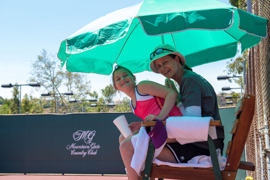Pam Shriver in Umpires chair - ACEing Autism Celebrity tennis fundraiser and exhibition at MountainGate Country Club photographed by Alex Huggan.